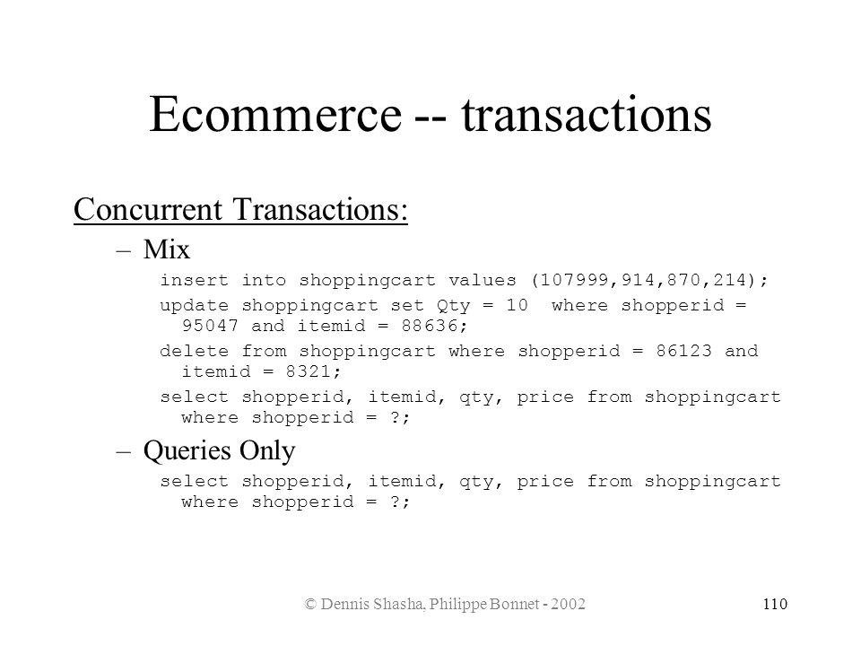 © Dennis Shasha, Philippe Bonnet - 2002110 Ecommerce -- transactions Concurrent Transactions: –Mix insert into shoppingcart values (107999,914,870,214