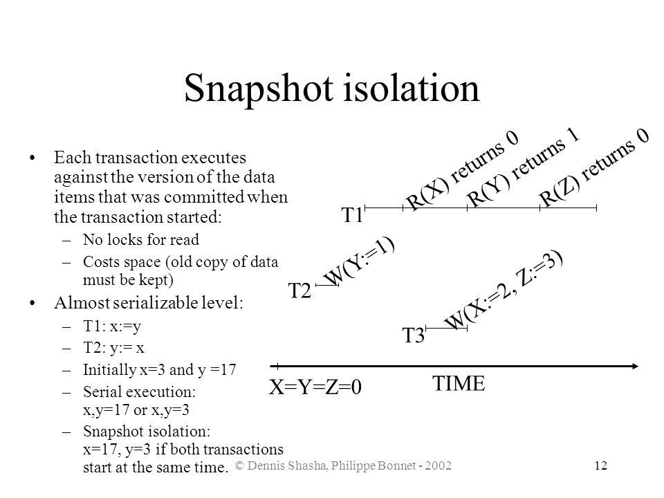 © Dennis Shasha, Philippe Bonnet - 200212 Snapshot isolation T1 T2 T3 TIME R(Y) returns 1 R(Z) returns 0 R(X) returns 0 W(Y:=1) W(X:=2, Z:=3) X=Y=Z=0
