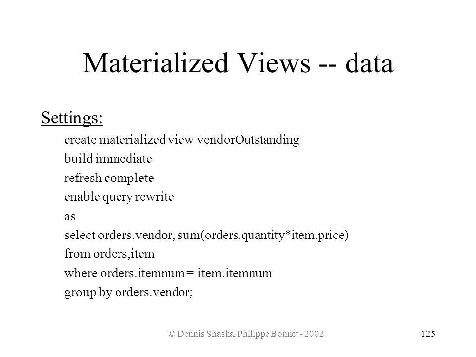 © Dennis Shasha, Philippe Bonnet - 2002125 Materialized Views -- data Settings: create materialized view vendorOutstanding build immediate refresh com
