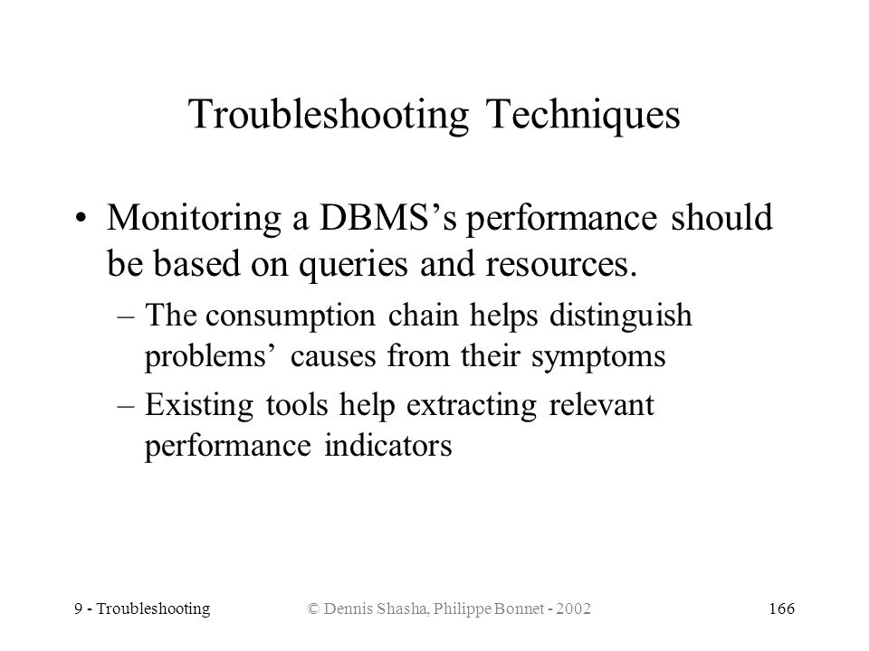 9 - Troubleshooting© Dennis Shasha, Philippe Bonnet - 2002166 Troubleshooting Techniques Monitoring a DBMSs performance should be based on queries and