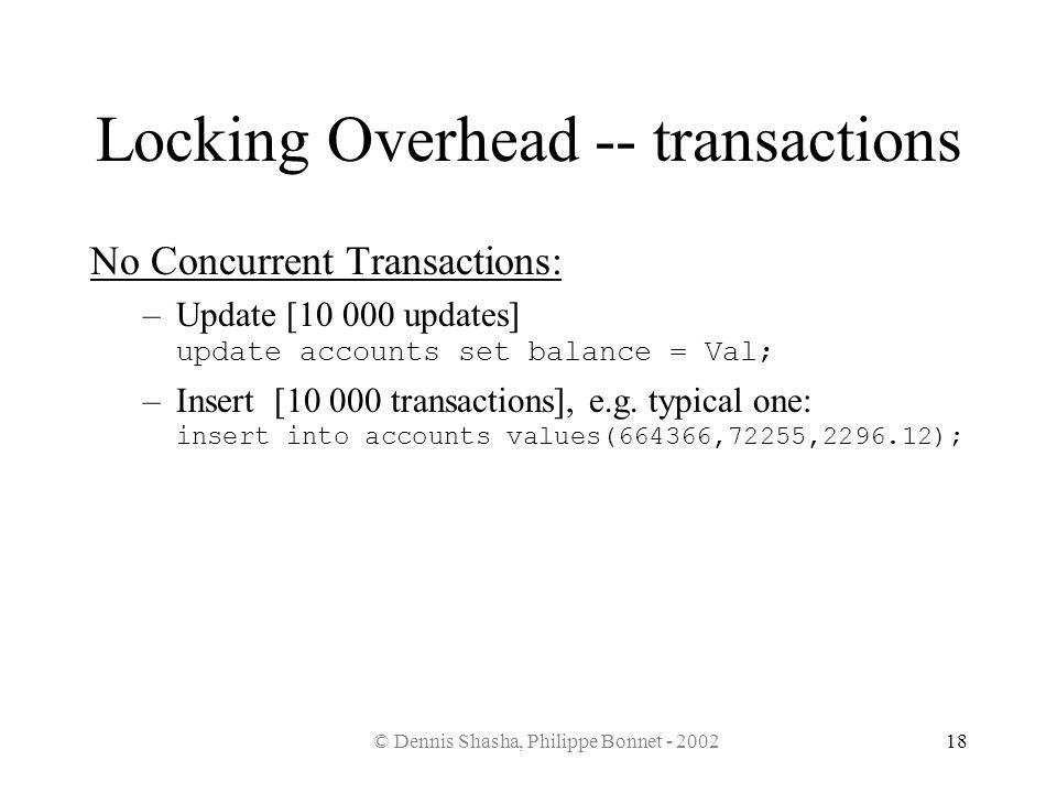 © Dennis Shasha, Philippe Bonnet - 200218 Locking Overhead -- transactions No Concurrent Transactions: –Update [10 000 updates] update accounts set ba