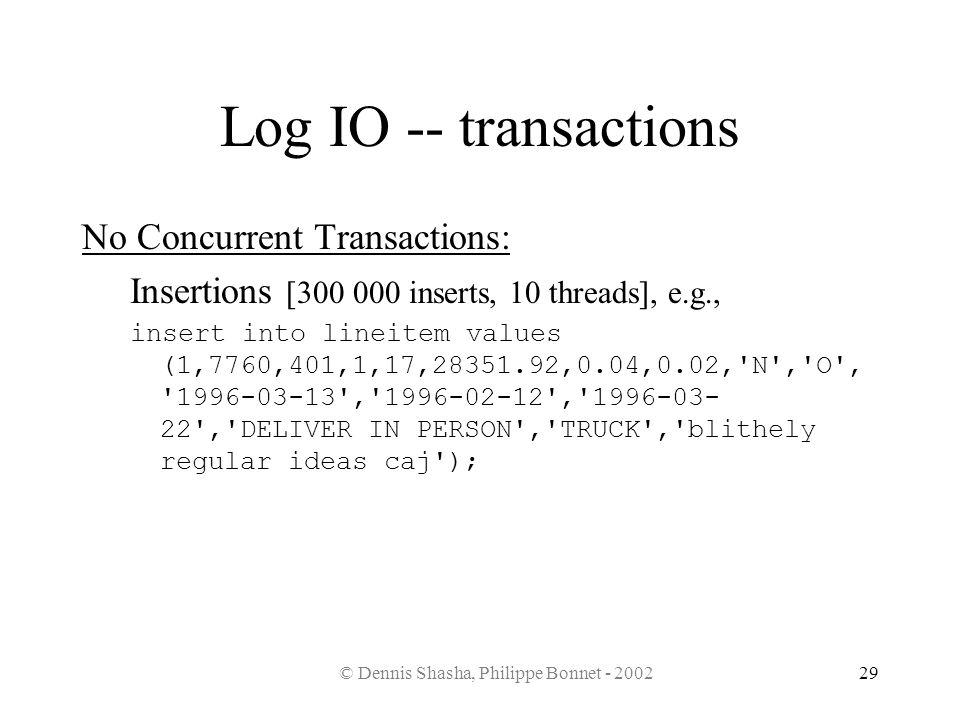 © Dennis Shasha, Philippe Bonnet - 200229 Log IO -- transactions No Concurrent Transactions: Insertions [300 000 inserts, 10 threads], e.g., insert in