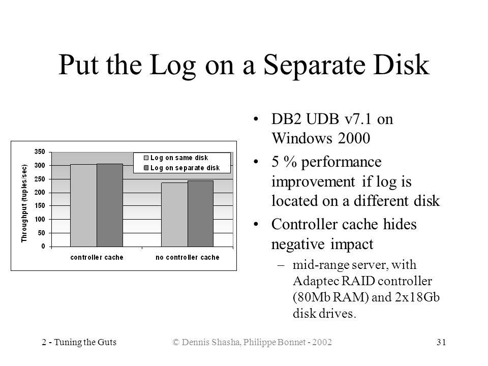2 - Tuning the Guts© Dennis Shasha, Philippe Bonnet - 200231 Put the Log on a Separate Disk DB2 UDB v7.1 on Windows 2000 5 % performance improvement i