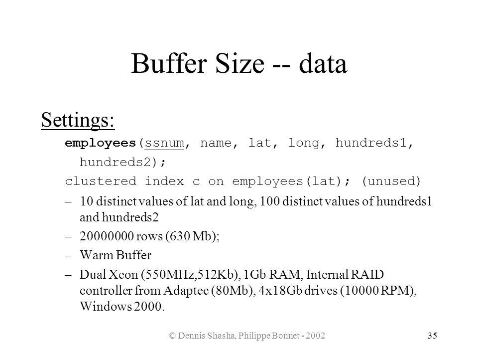 © Dennis Shasha, Philippe Bonnet - 200235 Buffer Size -- data Settings: employees(ssnum, name, lat, long, hundreds1, hundreds2); clustered index c on