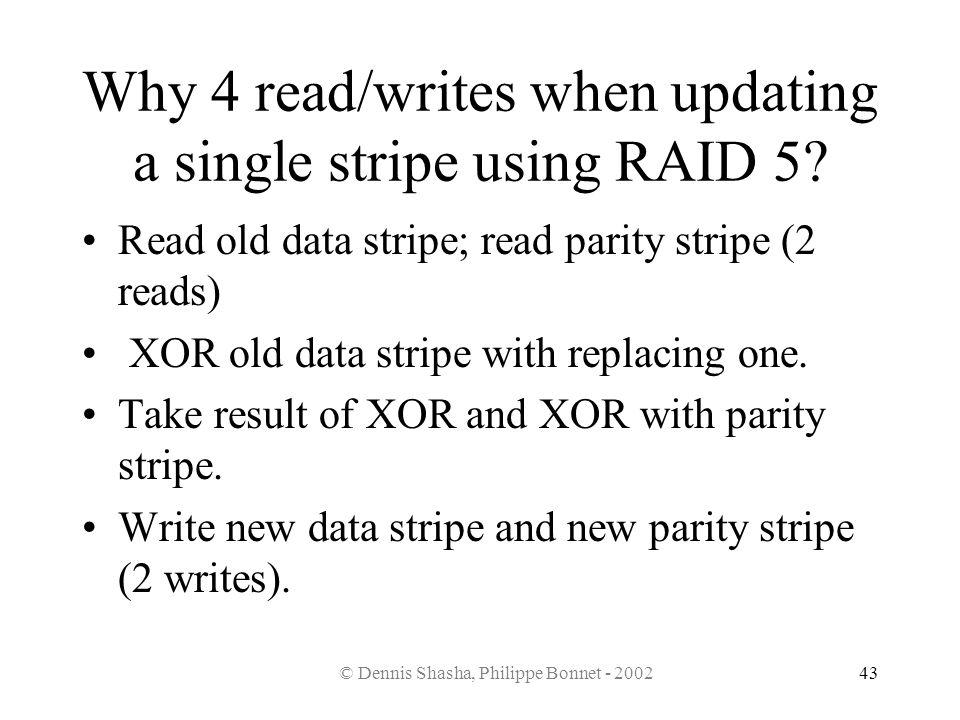 © Dennis Shasha, Philippe Bonnet - 200243 Why 4 read/writes when updating a single stripe using RAID 5? Read old data stripe; read parity stripe (2 re