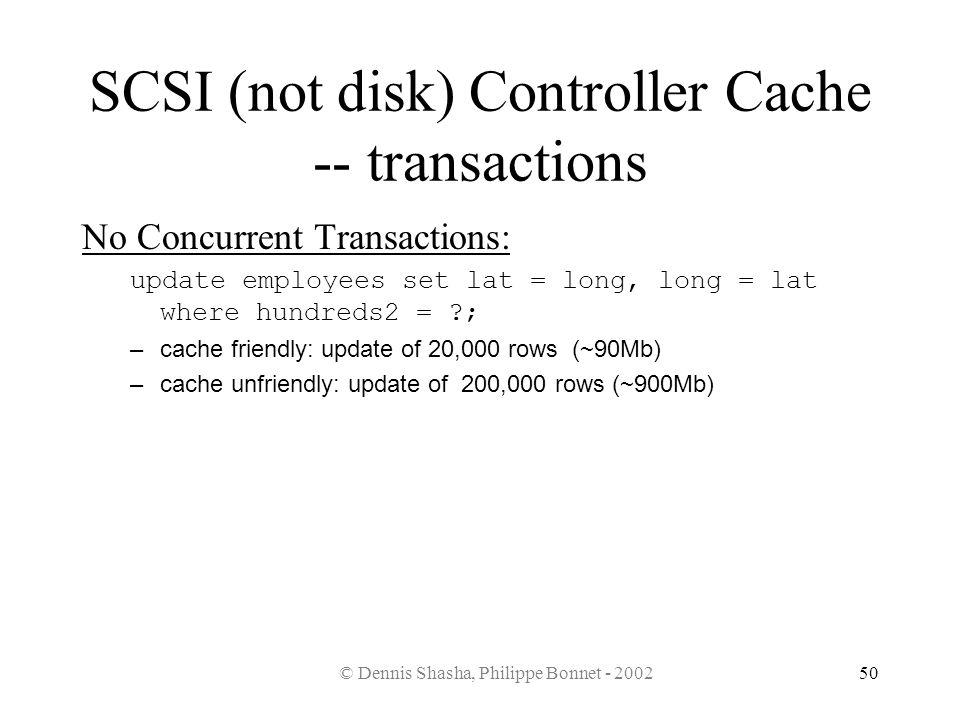 © Dennis Shasha, Philippe Bonnet - 200250 SCSI (not disk) Controller Cache -- transactions No Concurrent Transactions: update employees set lat = long