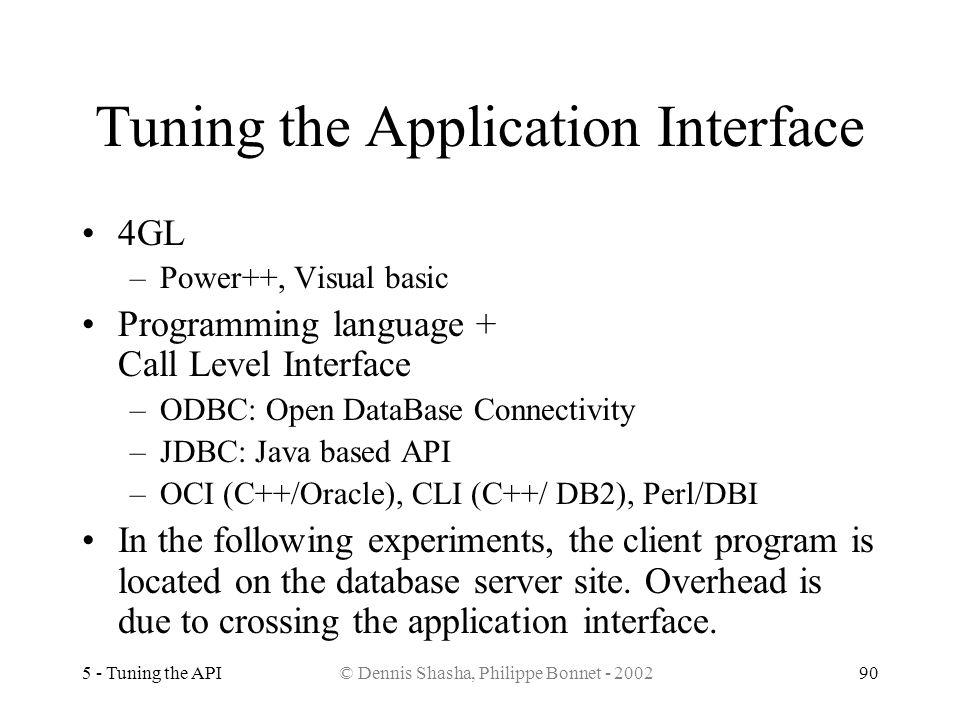 5 - Tuning the API© Dennis Shasha, Philippe Bonnet - 200290 Tuning the Application Interface 4GL –Power++, Visual basic Programming language + Call Le