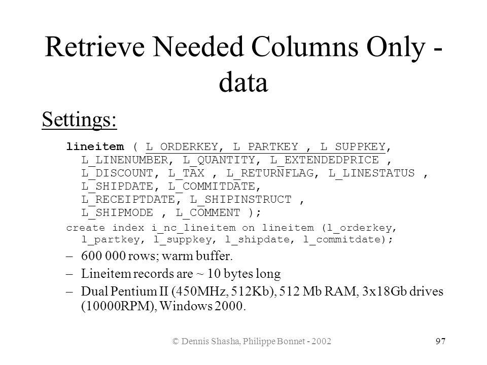 © Dennis Shasha, Philippe Bonnet - 200297 Retrieve Needed Columns Only - data Settings: lineitem ( L_ORDERKEY, L_PARTKEY, L_SUPPKEY, L_LINENUMBER, L_Q