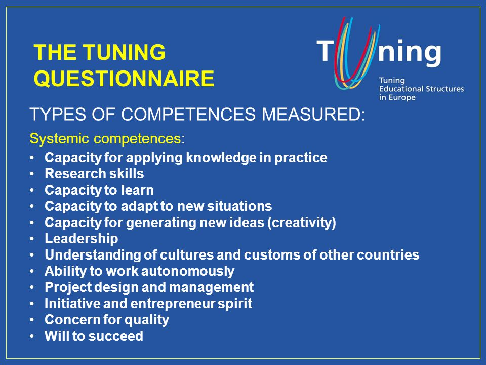 TYPES OF COMPETENCES MEASURED: Systemic competences: Capacity for applying knowledge in practice Research skills Capacity to learn Capacity to adapt to new situations Capacity for generating new ideas (creativity) Leadership Understanding of cultures and customs of other countries Ability to work autonomously Project design and management Initiative and entrepreneur spirit Concern for quality Will to succeed THE TUNING QUESTIONNAIRE
