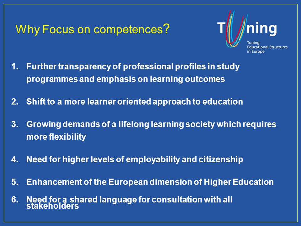 Why Focus on competences .