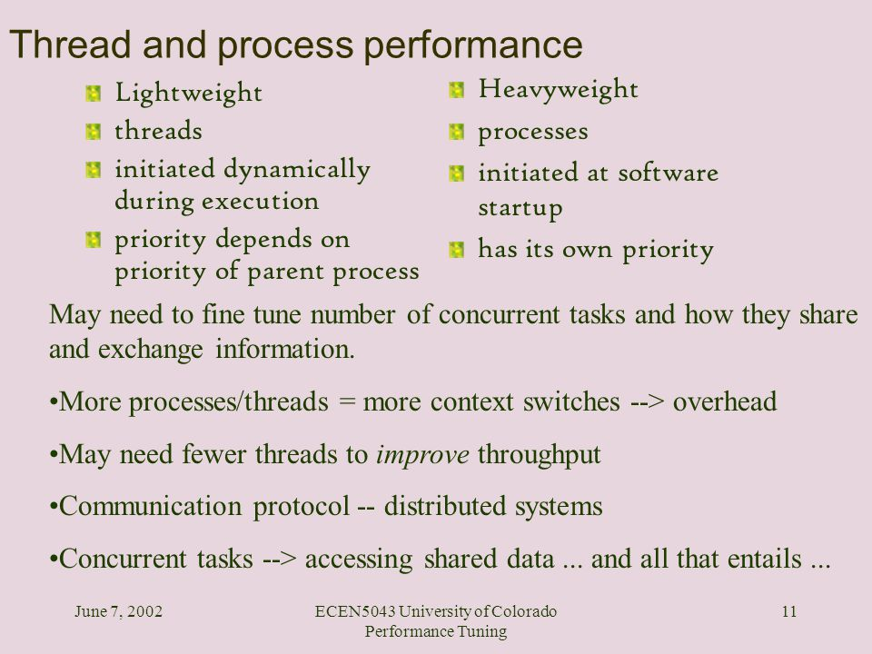 June 7, 2002ECEN5043 University of Colorado Performance Tuning 11 Thread and process performance Lightweight threads initiated dynamically during exec
