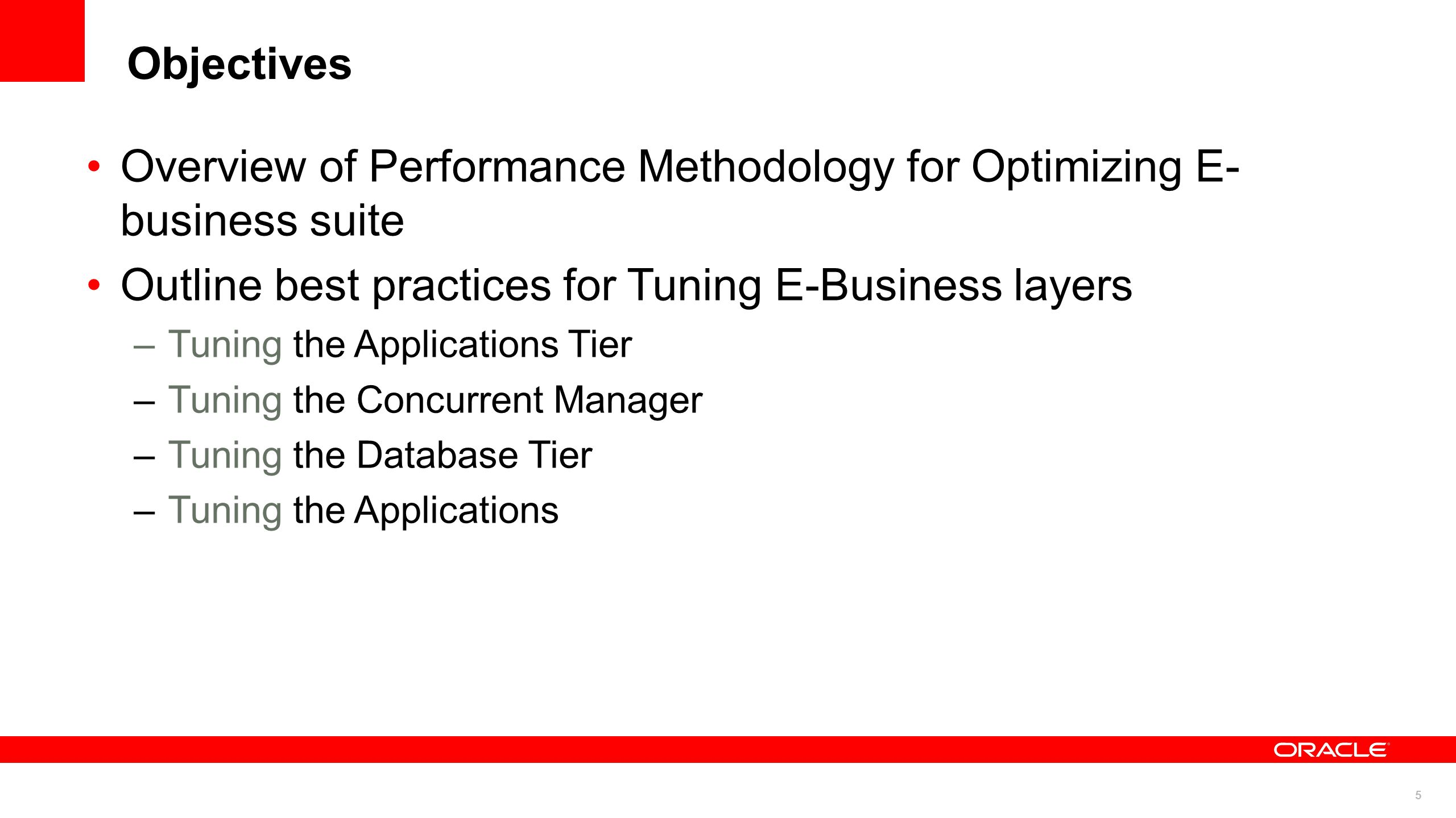 66 Tuning the Applications MyOracleSuport note Recommended Performance Patches for the Oracle E-Business Suite, 244040.1 –Recommended performance patches for all the modules and tech.
