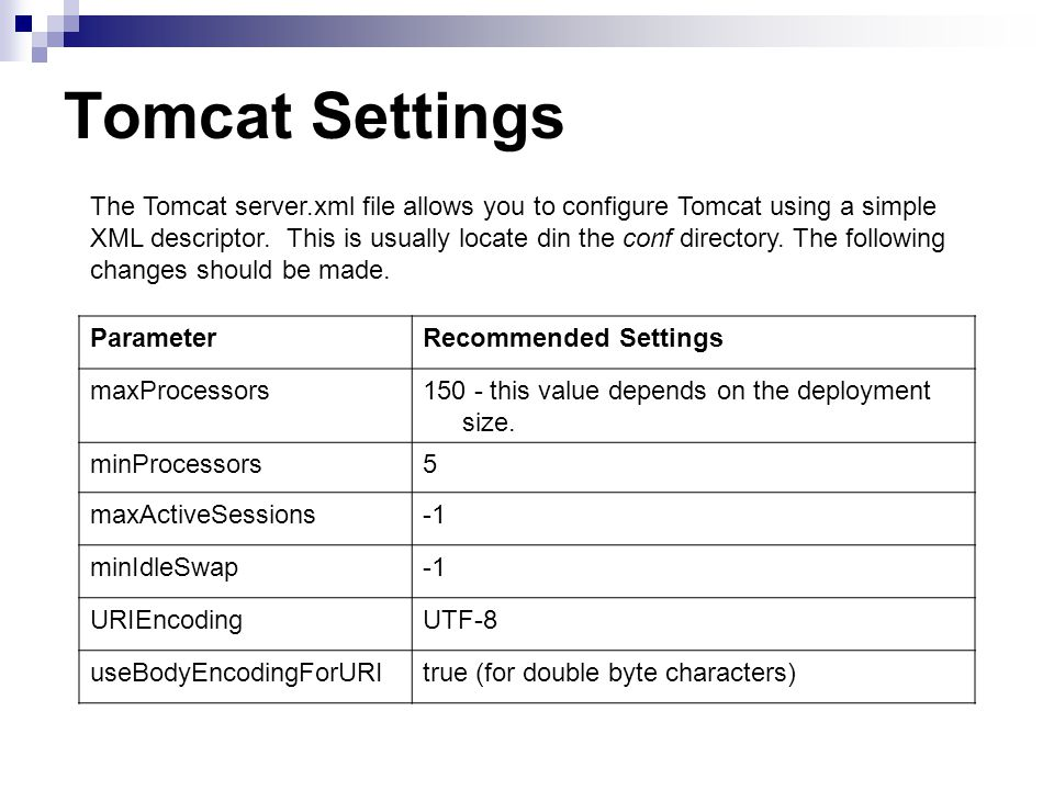Tomcat Settings ParameterRecommended Settings maxProcessors150 - this value depends on the deployment size.