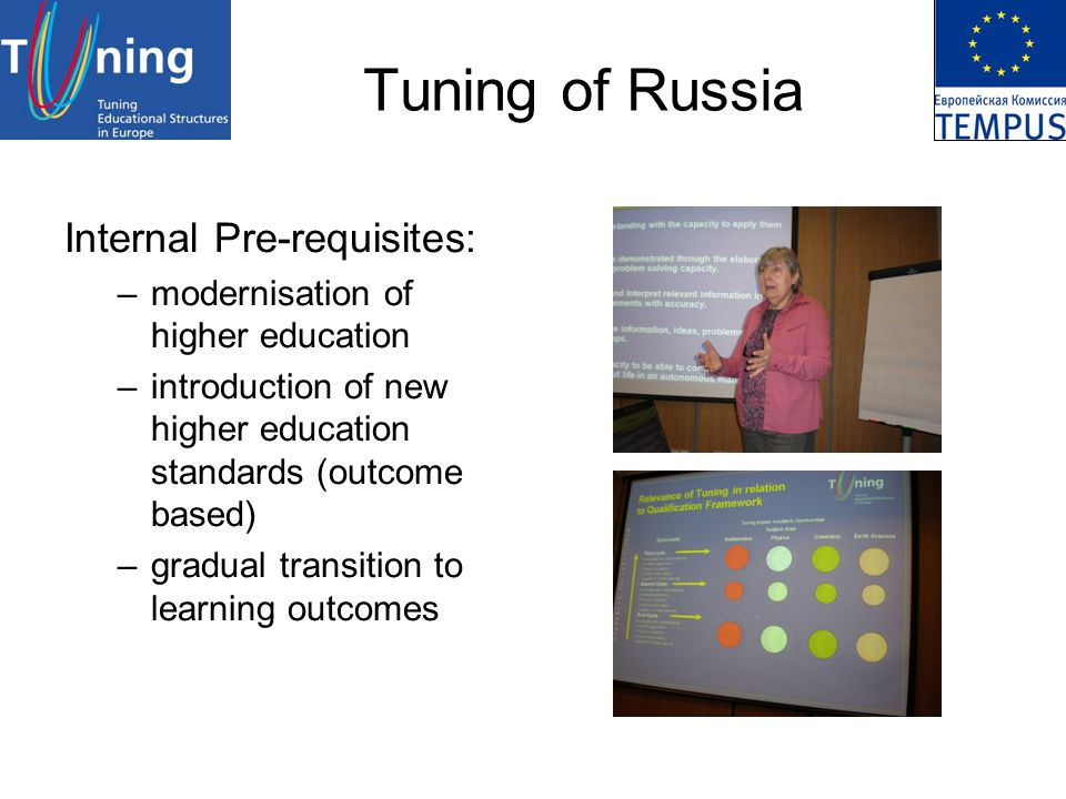 Tuning of Russia Internal Pre-requisites: –modernisation of higher education –introduction of new higher education standards (outcome based) –gradual transition to learning outcomes