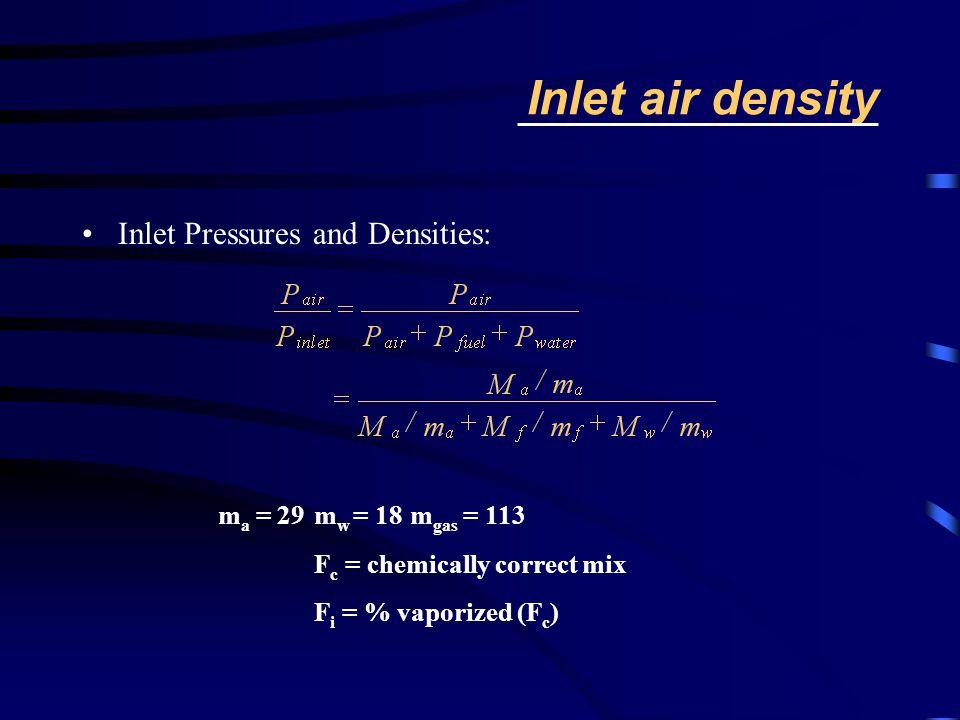 Inlet air density Inlet Pressures and Densities: m a = 29m w = 18m gas = 113 F c = chemically correct mix F i = % vaporized (F c )