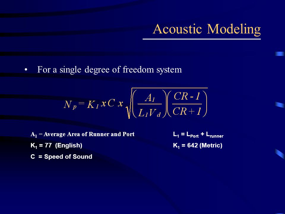For a single degree of freedom system Acoustic Modeling A 1 = Average Area of Runner and Port L 1 = L Port + L runner K 1 = 77 (English) K 1 = 642 (Me