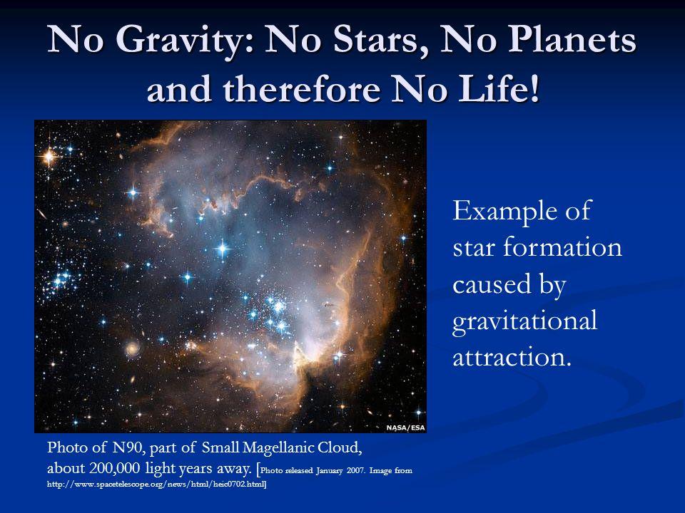 No Gravity: No Stars, No Planets and therefore No Life.
