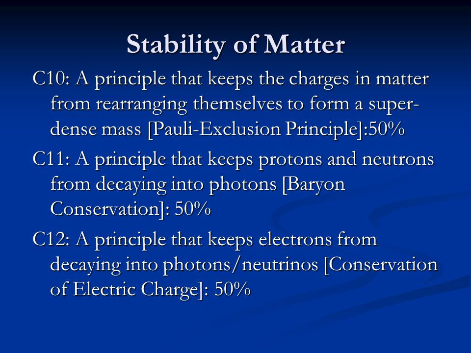 Stability of Matter C10: A principle that keeps the charges in matter from rearranging themselves to form a super- dense mass [Pauli-Exclusion Principle]:50% C11: A principle that keeps protons and neutrons from decaying into photons [Baryon Conservation]: 50% C12: A principle that keeps electrons from decaying into photons/neutrinos [Conservation of Electric Charge]: 50%