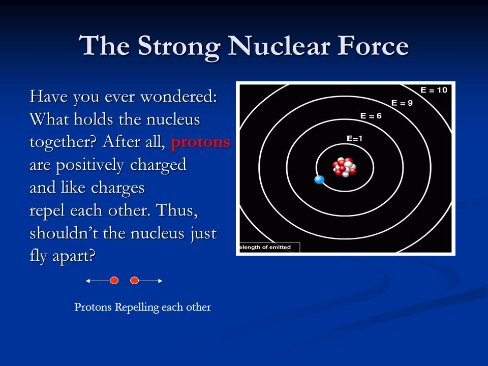 The Strong Nuclear Force Have you ever wondered: What holds the nucleus together.