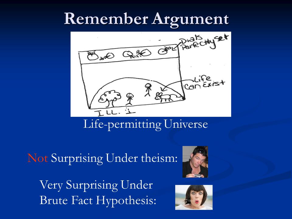Remember Argument Life-permitting Universe Not Surprising Under theism: Very Surprising Under Brute Fact Hypothesis: