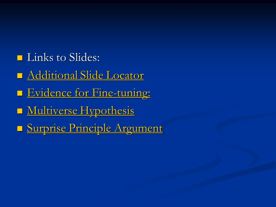 Links to Slides: Links to Slides: Additional Slide Locator Additional Slide Locator Additional Slide Locator Additional Slide Locator Evidence for Fin