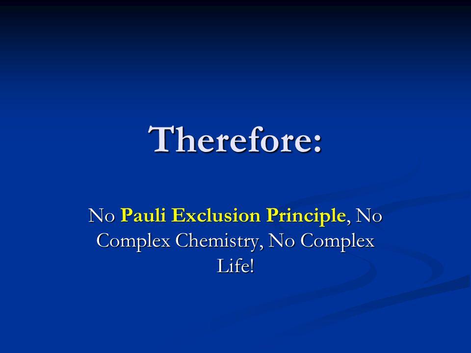 Therefore: No Pauli Exclusion Principle, No Complex Chemistry, No Complex Life!