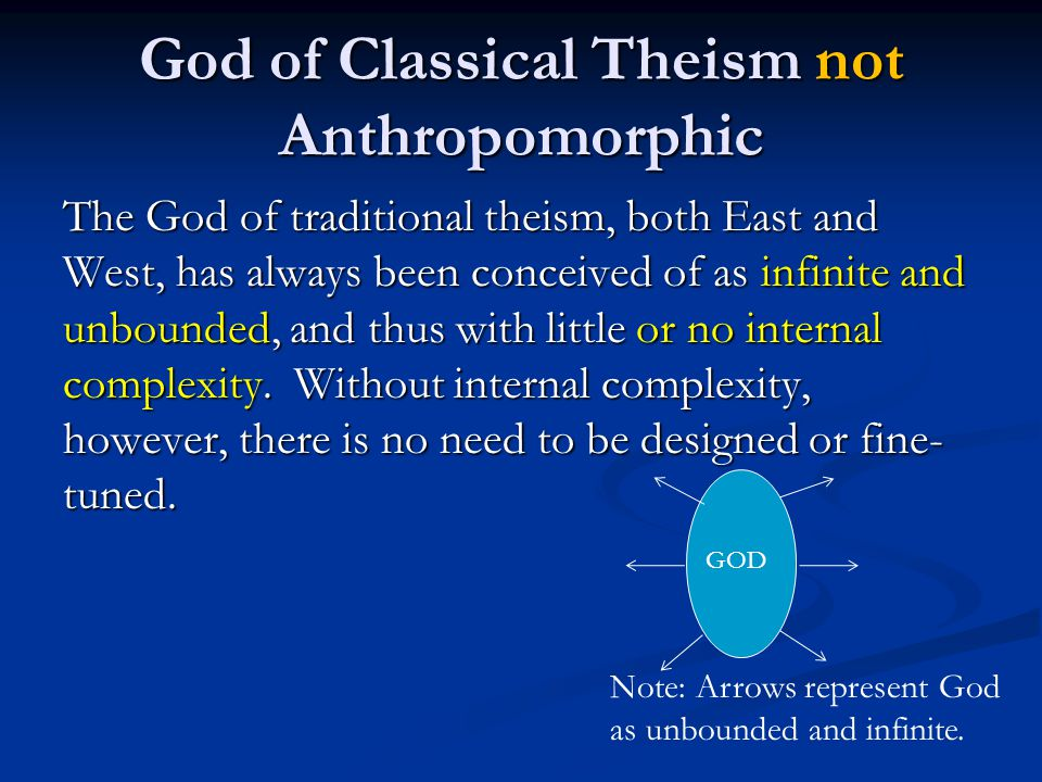 God of Classical Theism not Anthropomorphic The God of traditional theism, both East and West, has always been conceived of as infinite and unbounded, and thus with little or no internal complexity.
