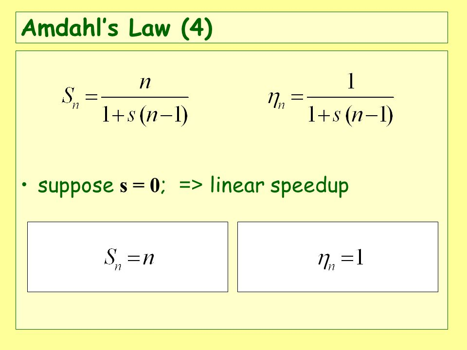 suppose s = 0 ; => linear speedup Amdahls Law (4)