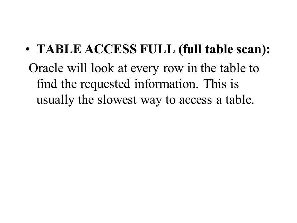 TABLE ACCESS FULL (full table scan): Oracle will look at every row in the table to find the requested information.