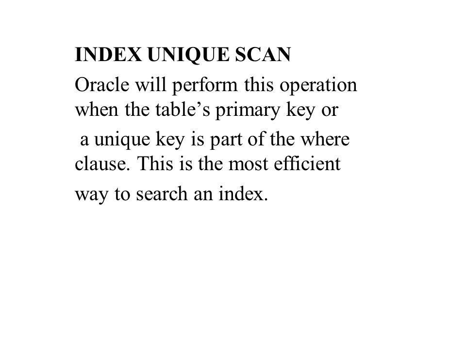 INDEX UNIQUE SCAN Oracle will perform this operation when the tables primary key or a unique key is part of the where clause.