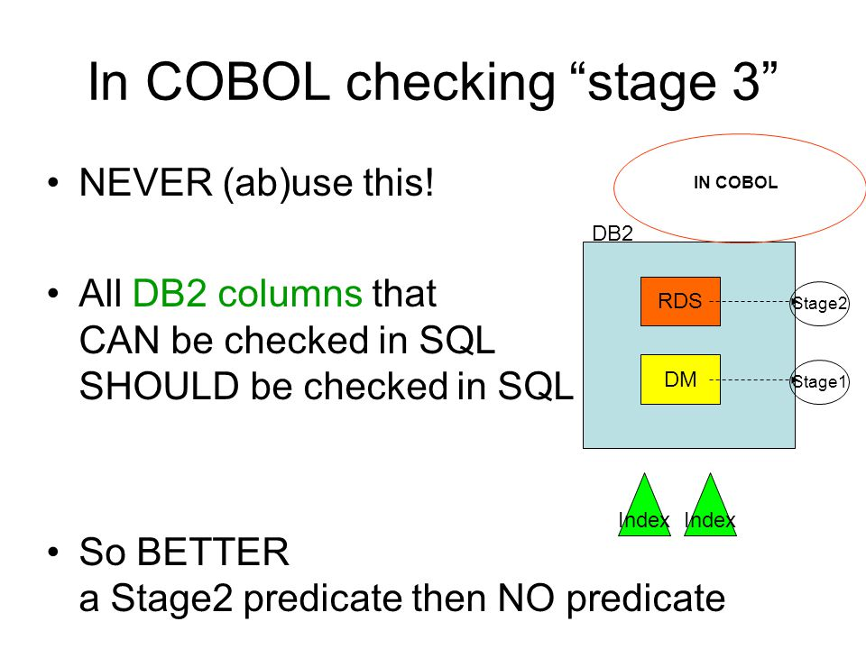 In COBOL checking stage 3 NEVER (ab)use this! All DB2 columns that CAN be checked in SQL SHOULD be checked in SQL So BETTER a Stage2 predicate then NO