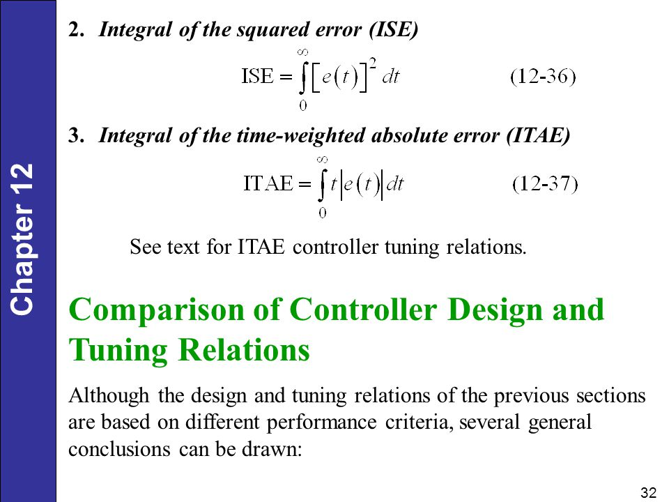 Chapter 12 32 2. Integral of the squared error (ISE) 3. Integral of the time-weighted absolute error (ITAE) Comparison of Controller Design and Tuning