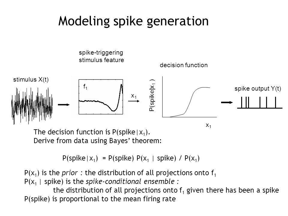 spike-triggering stimulus feature stimulus X(t) decision function spike output Y(t) x1x1 f1f1 P(spike|x 1 ) x1x1 The decision function is P(spike|x 1 ).