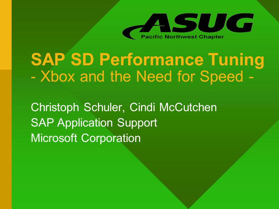 SAP SD Performance Tuning - Xbox and the Need for Speed - Christoph Schuler, Cindi McCutchen SAP Application Support Microsoft Corporation