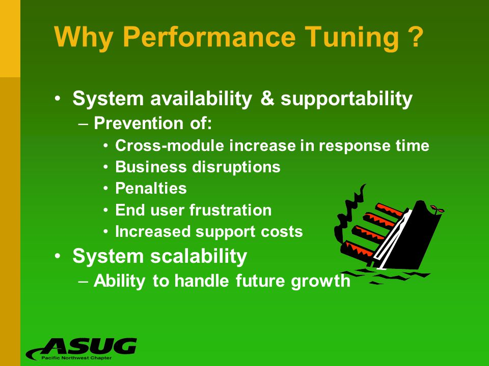 Why Performance Tuning ? System availability & supportability –Prevention of: Cross-module increase in response time Business disruptions Penalties En