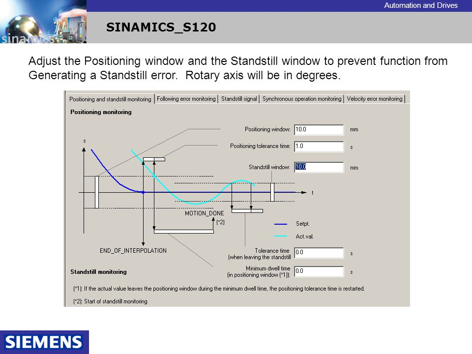 Automation and Drives SINAMICS_S120 Adjust the Positioning window and the Standstill window to prevent function from Generating a Standstill error. Ro