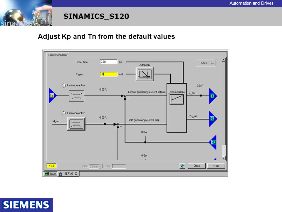 Automation and Drives SINAMICS_S120 Adjust Kp and Tn from the default values