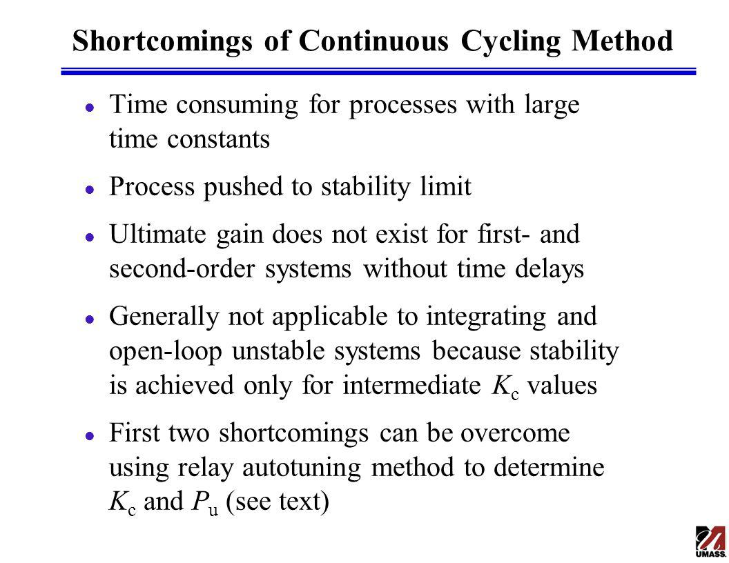 Shortcomings of Continuous Cycling Method l Time consuming for processes with large time constants l Process pushed to stability limit l Ultimate gain