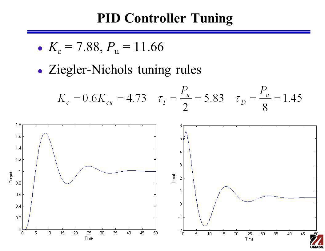 PID Controller Tuning l K c = 7.88, P u = 11.66 l Ziegler-Nichols tuning rules