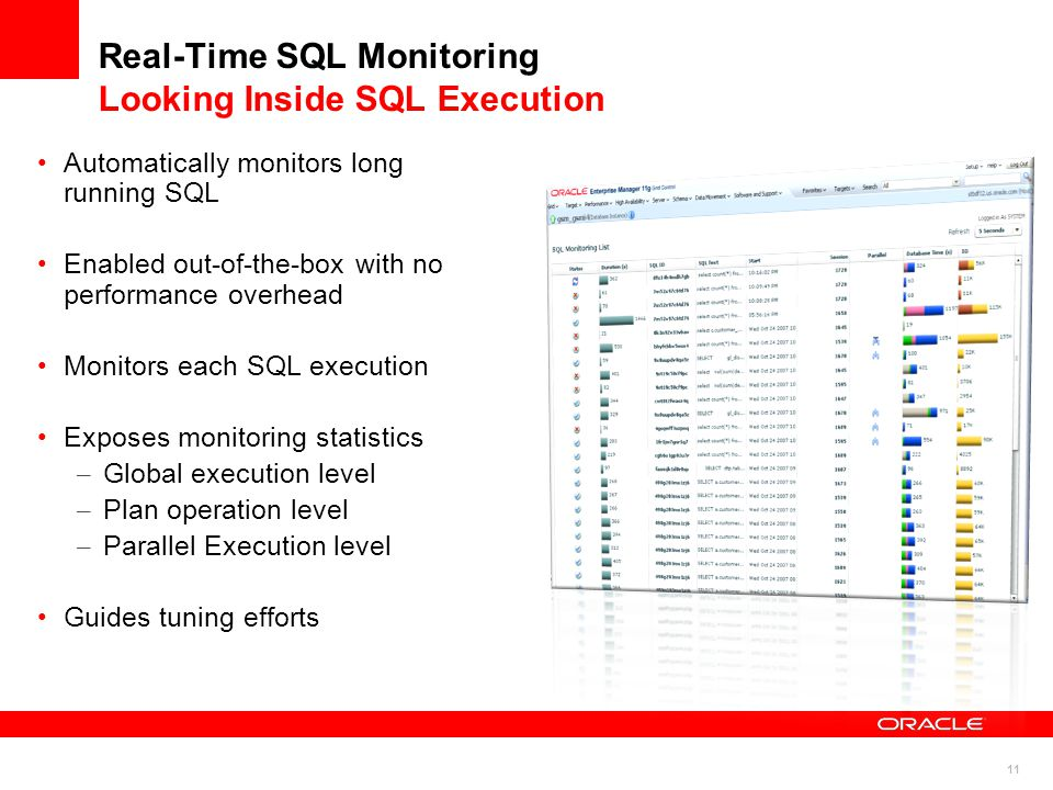11 Automatically monitors long running SQL Enabled out-of-the-box with no performance overhead Monitors each SQL execution Exposes monitoring statistics – Global execution level – Plan operation level – Parallel Execution level Guides tuning efforts Real-Time SQL Monitoring Looking Inside SQL Execution