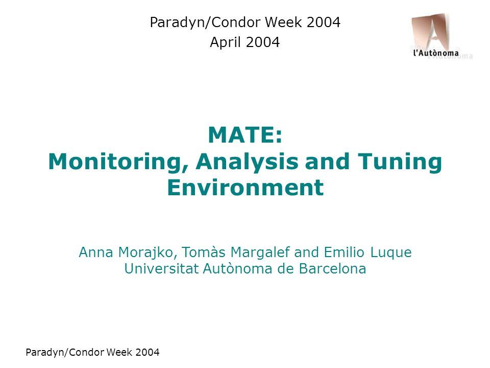 Paradyn/Condor Week 2004 MATE: Monitoring, Analysis and Tuning Environment Anna Morajko, Tomàs Margalef and Emilio Luque Universitat Autònoma de Barcelona Paradyn/Condor Week 2004 April 2004
