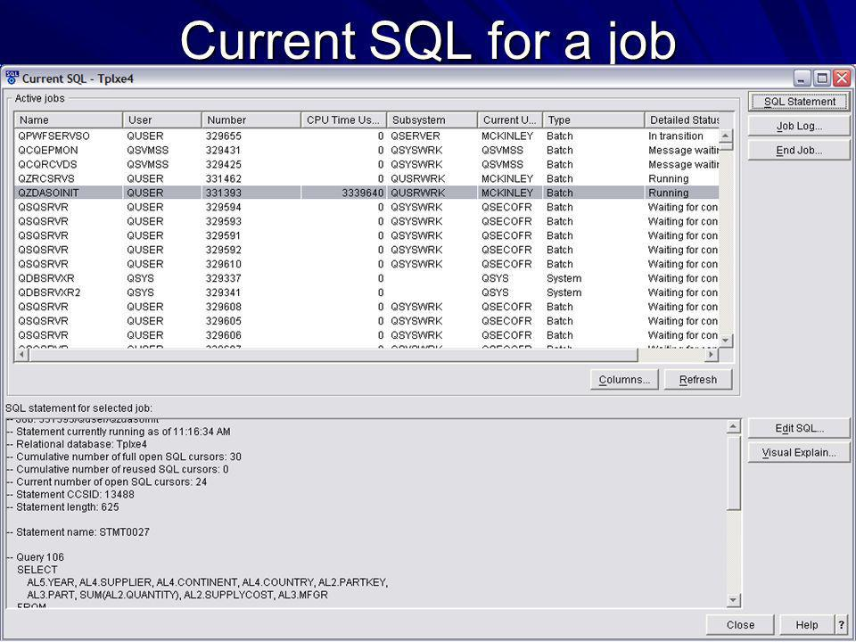 Current SQL for a job