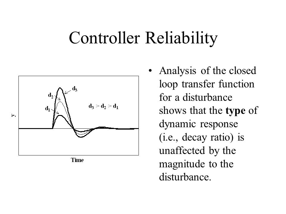 Controller Reliability Analysis of the closed loop transfer function for a disturbance shows that the type of dynamic response (i.e., decay ratio) is