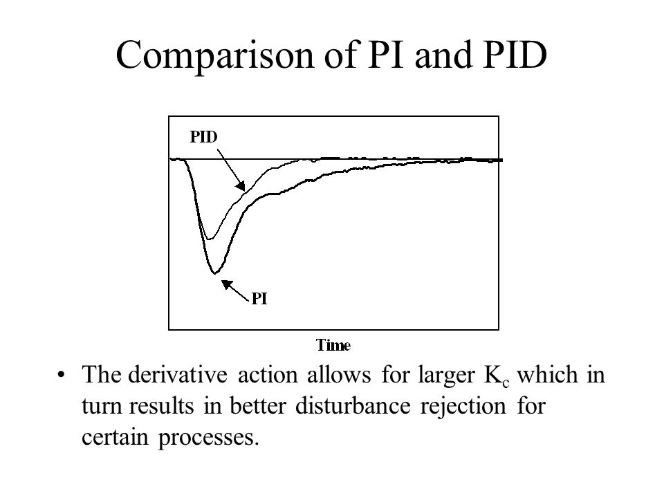 Comparison of PI and PID The derivative action allows for larger K c which in turn results in better disturbance rejection for certain processes.