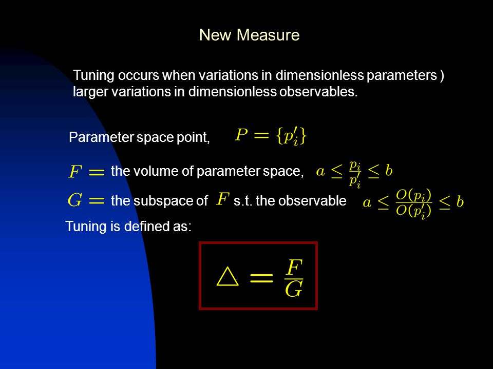 New Measure the volume of parameter space, the subspace of s.t.