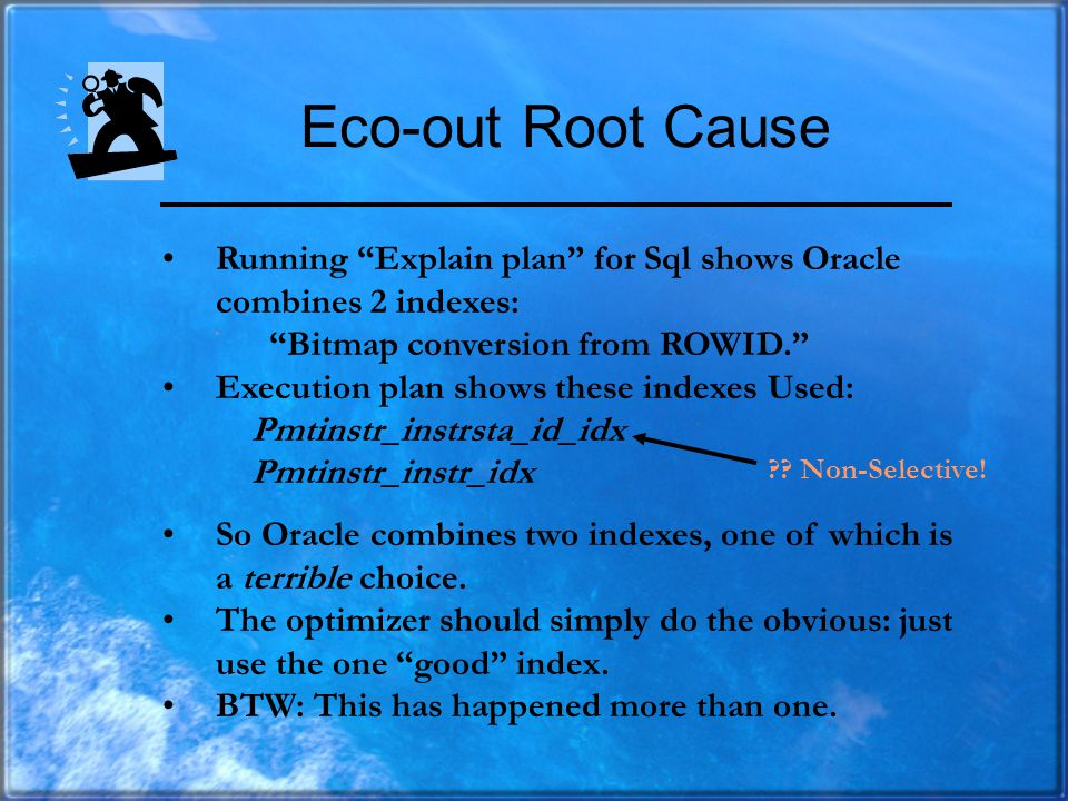 Ecoout: Identify Root Cause The resource-intensive script finds this Sql running during the time period: UPDATE CBPAYMENT PMT_UPDATE SET (COLS) = (SEL