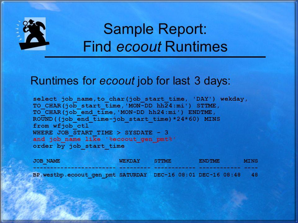 Find Slow Batch Jobs JOB_NAME STTME ENDTME MINS ------------------------------- ------------ ------------ ------- BP.westbp.gen_dailyrun.C dec-18 04:34 dec-18 06:08 94 BP.westbp.sam_gen_tkconf.C dec-18 06:00 dec-18 06:36 36 BP.westbp.prc_instalerts.C dec-18 06:01 dec-18 06:33 32 BP.westbp.cfin_prc_svcrs2.C dec-18 08:11 dec-18 08:31 20 List jobs in past ½ day running longer than 20 mins: