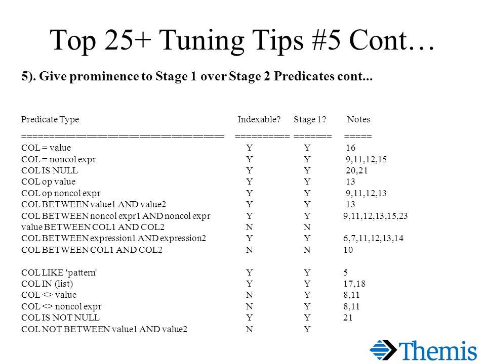 Top 25+ Tuning Tips #5 Cont… 5). Give prominence to Stage 1 over Stage 2 Predicates cont...