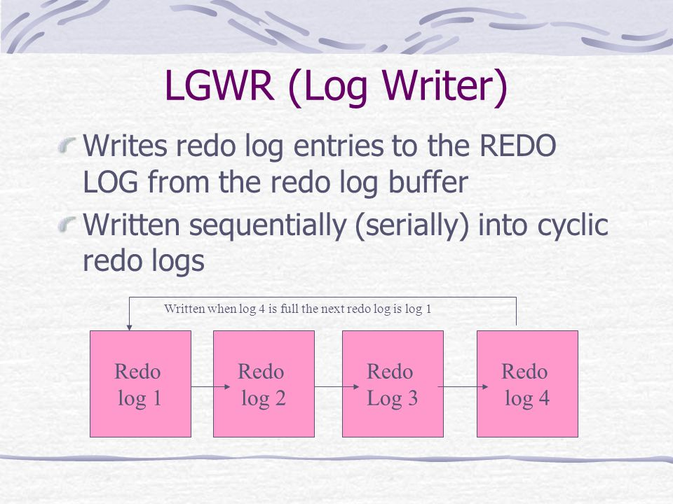 LGWR (Log Writer) Writes redo log entries to the REDO LOG from the redo log buffer Written sequentially (serially) into cyclic redo logs Redo log 1 Redo log 2 Redo Log 3 Redo log 4 Written when log 4 is full the next redo log is log 1