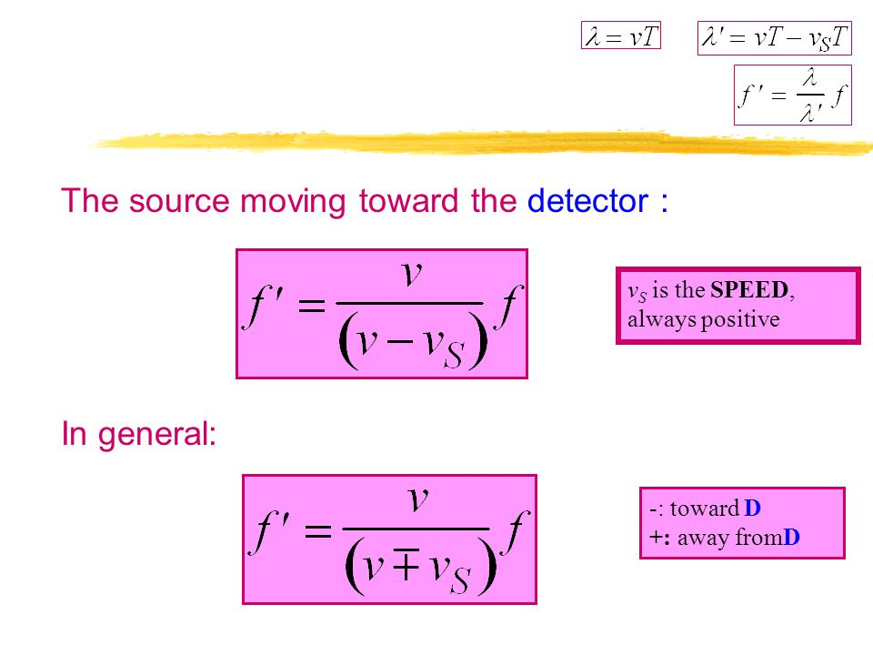 Source Moving, Detector Stationary The source stationary: Distance between two wavefronts period T apart The source moving toward the detector : waves
